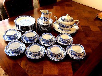 Tea set of Vintage China Blau Bavaria Germany dishes 8 personen
