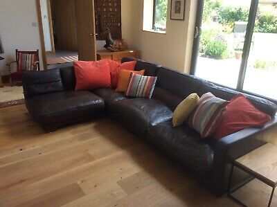 Brown leather corner sofa, large, hard wearing and very comfortable.