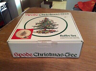 Spode Christmas Tree Buffet Set NIB Dinner Plate Cup & Saucer Spode Buffet Plate