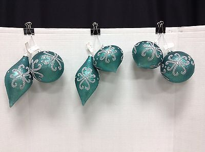 Frontgate Christmas Teal Silver Glitter Matte Ornaments Catch Tune up Telescope Set 6