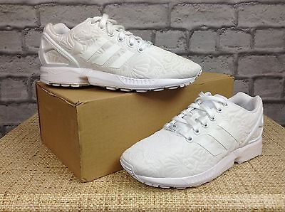 brand new 41f7c 94827 Details about ADIDAS LADIES UK 4 EU 36 2/3 WHITE ZX FLUX TRAINERS FLORAL  PUFF