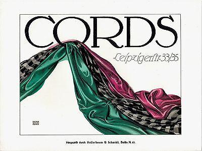 Original vintage poster print CORDS TOWELS BERLIN c.1910 Berhard