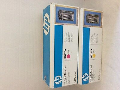 New Sealed HP Color LaserJet Yellow Ink Cartridge Q3972A Toner and magenta q3973