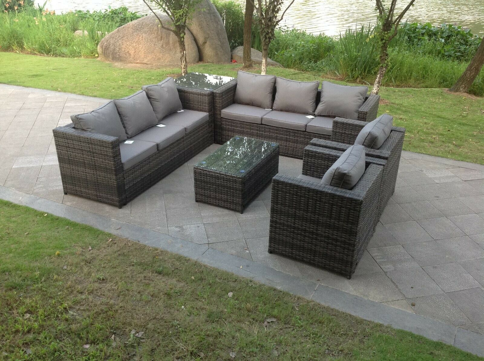 Garden Furniture - rattan sofa set with 2 table chairs footstools outdoor garden furniture