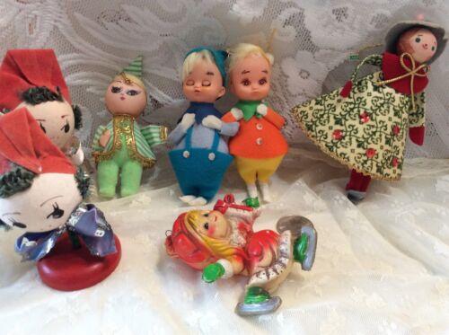 Vtg Xmas Ornaments Felt made in Japan Doll twins lot 7 mcm