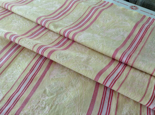 Antique/Vintage French Damask Woven Cotton Ticking Fabric Stripe  Upholstery