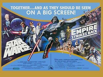 "STAR WARS / EMPIRE STRIKES BACK UK DOUBLE BILL CINEMA POSTER REPRO QUAD 30X40"""