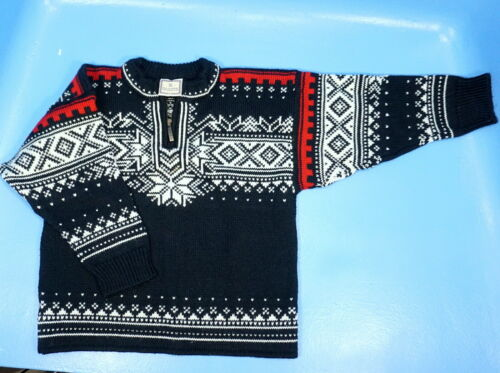 Dale of Norway CHILD WOOL SWEATER BOY 1/4 Zip Size 8 Black White Red