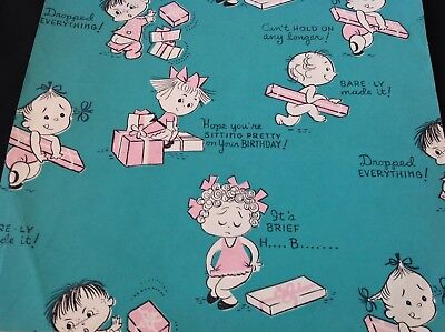 #23 Sweet Vintage 1940S Baby Gift Wrap Paper Partial Babies Birthday Sweet Baby Gift