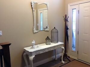 Hall table and mirror.- chalk painted ,distressed, shabby chic