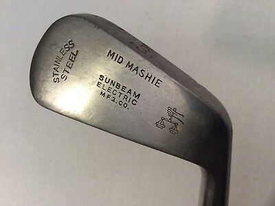 Antique BURKE Sunbeam Electric Mashie 3 Vtg Wood Shaft Stainless Golf Club 39.5""