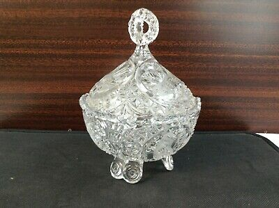 3 Footed Candy Dish (Crystal Bowl with Lid Candy Dish Elegant Bird Etching 3)