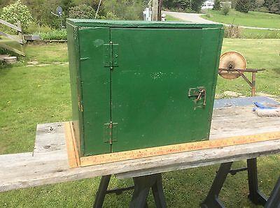 Green & Red Handmade Wood Cabinet, Shabby Farm Garage Two Shelf Cupboard