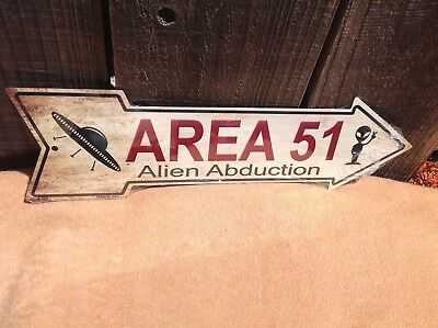 Area 51 Alien Abduct This Way To Arrow Sign Directional Novelty Metal 17