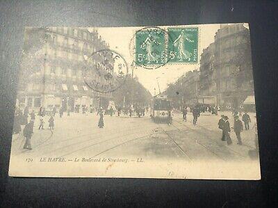 Lot de 2 anciennes cartes postales La havre Boulevard Strasbourg et jetée