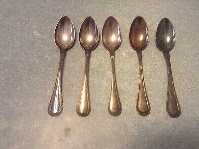 Lot de 5 anciennes cuillères à café en métal argenté