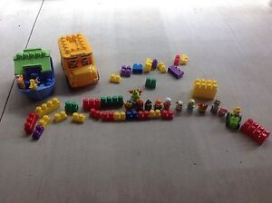 Megablocks Bus, Boat, tractor, many characters, some blocks Sandgate Brisbane North East Preview