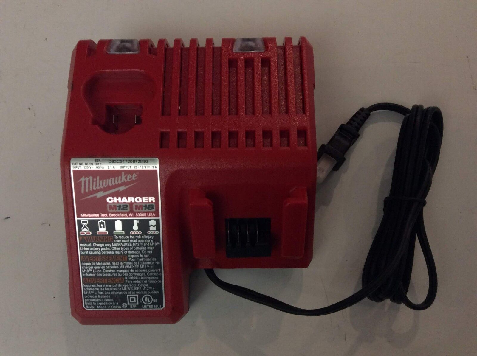 MILWAUKEE 48-59-1812 18V 18 VOLT M12 / M18 LITHIUM ION CHARGER NEW 2
