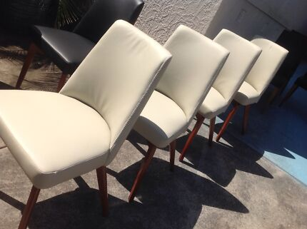 NEW WHITE LEATHER MODERN LOW Dining CHAIR TIMBER Cross LEG Gladesville Ryde Area Preview