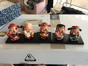 Five happy Chinese style figurines Elermore Vale Newcastle Area Preview