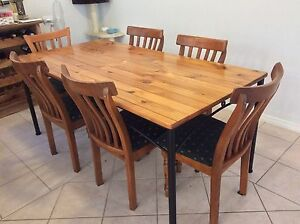 Pine and metal dining table and chairs - 6 seater Tuart Hill Stirling Area Preview
