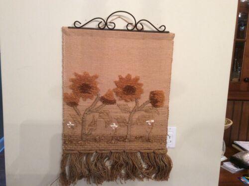 Vintage Wall Hanging Textile Tapestry ICA Natural Fiber Fringe Boho Decor 29x20