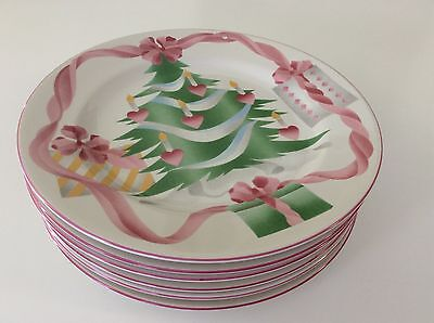 SANGO HOME FOR CHRISTMAS DINNER PLATE Candles TREE PINK Set 6