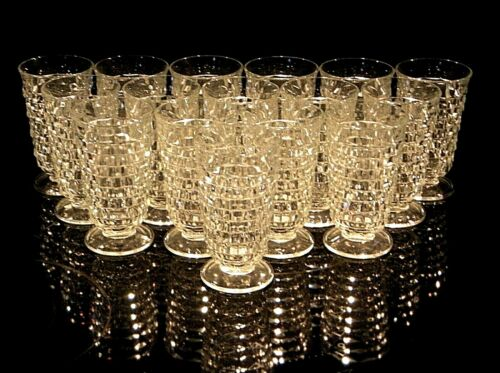 Vintage Indiana Glass Whitehall Clear Iced Tea Stemmed Glasses. 16 Available.
