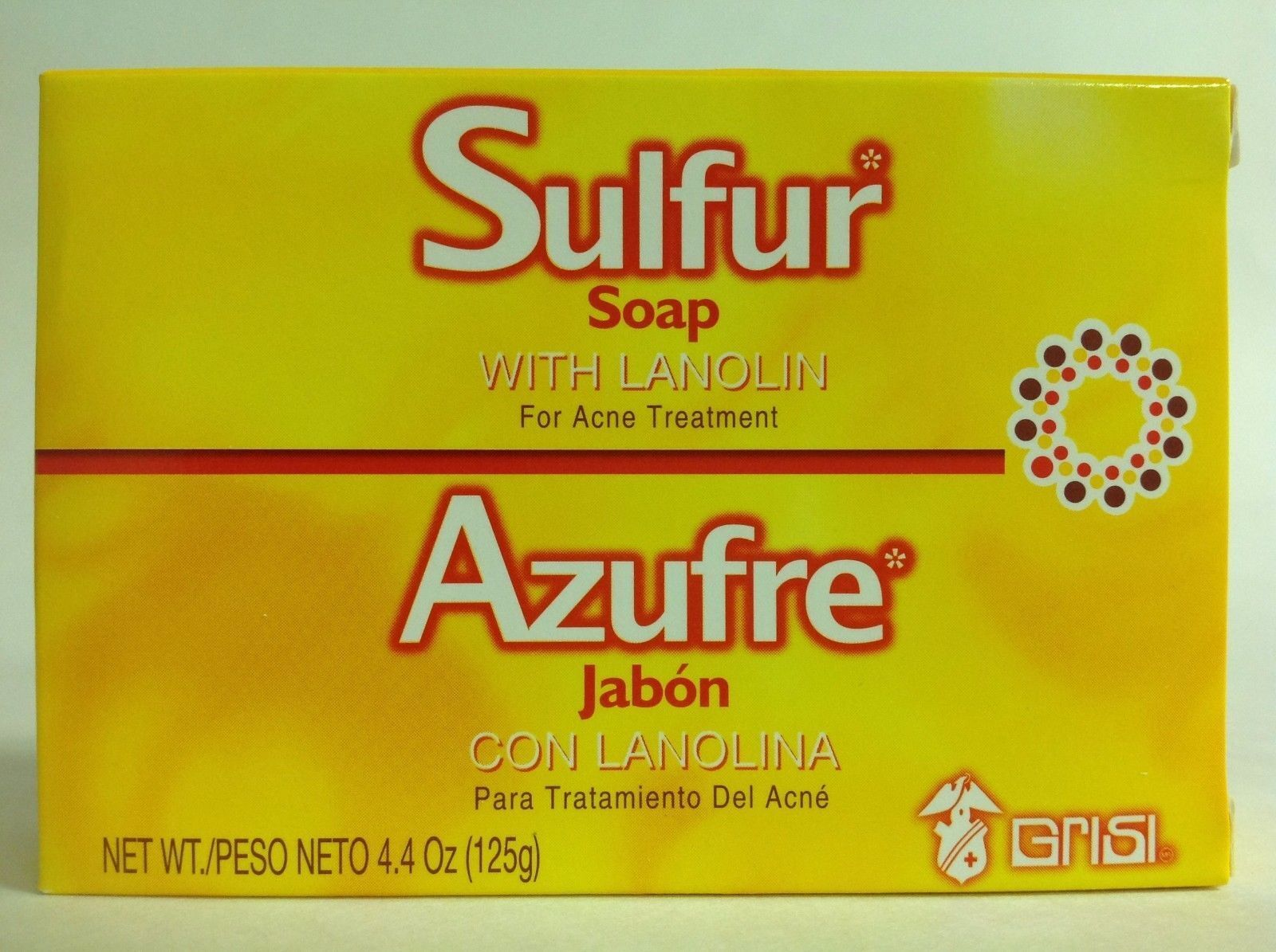 2 GRISI SULFUR SOAP ACNE TREATMENT BARS 4.4 oz / JABON AZUFRE PARA ACNE GRISI