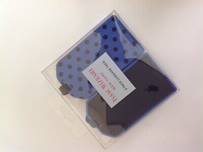 New Isaac Mizrahi New York Set of Two Super Cute Blue Luggage Tags Durable