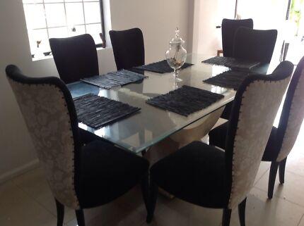 LUXURY 8 PIECE DINING SUITE & COFFEE TABLE - CUSTOM CHAIR UPHOLST North Parramatta Parramatta Area Preview