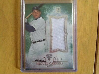 (Miguel Cabrera 2015 Topps Triple Threads Game Used Jersey Card 4/18)