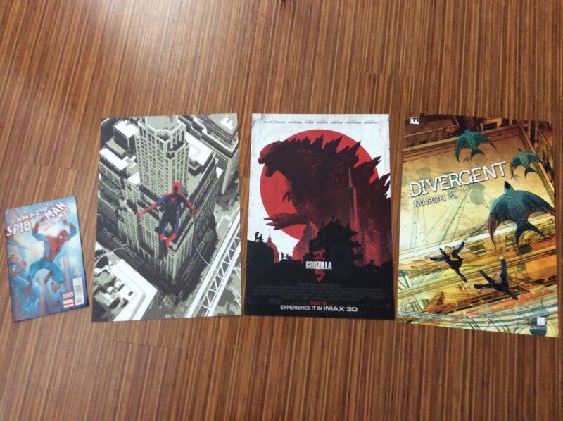 IMAX movie LIMITED poster SET - Amazing Spider-Man 2, Godzilla, and Divergent!!!