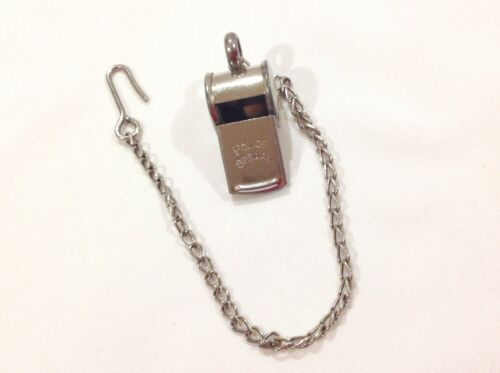 Vintage Police Special Silver Whistle With Chain, Made in Germany
