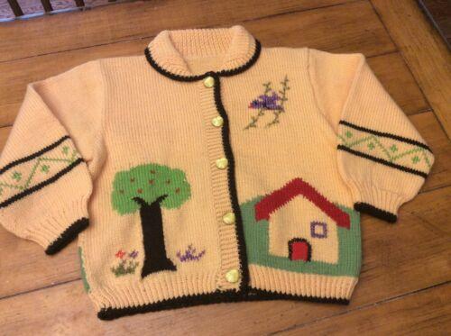 Vintage Handknit Handmade Yellow Cardigan Sweater tree house chicken farm 3 4T