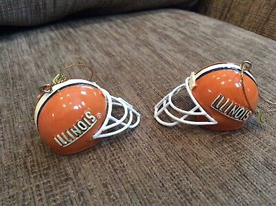 University of Illinois Football Helmet Christmas Ornaments (2) - Football Christmas Ornaments