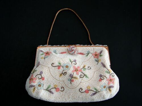 Vintage Hand Made E. Grillot Paris French Victorian Style Beaded Purse ca.1930