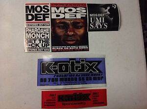 Lot-of-6-NEW-Hip-Hop-PROMO-Stickers-RAWKUS-RECORDS-MOS-DEF-PHAROAHE-MONCH-K-OTIX