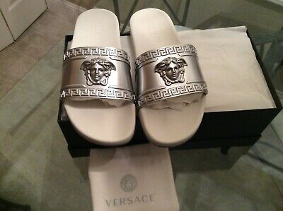 Versace Men's Size 43.5 Silver/White Medusa Head Beach Slides Sandals