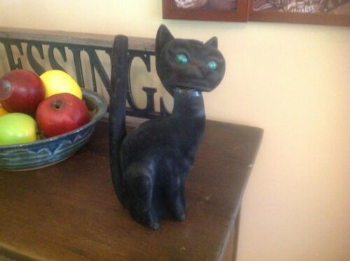 Vintage Halloween Black Cat Coin Bank with Green eyes bobble head paper