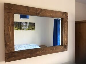 Rustic Handcrafted Chunky Reclaimed Wood Mirror,in walnut Stain
