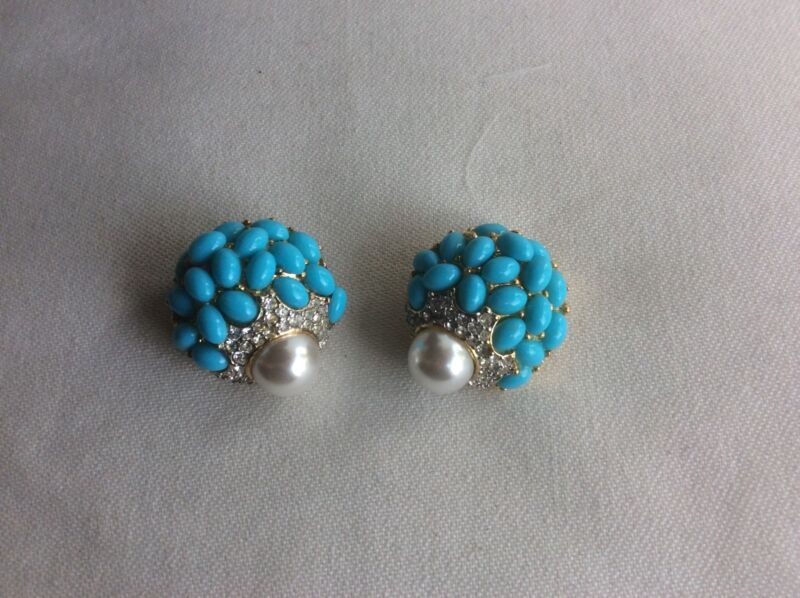 KJL KENNETH JAY LANE FAUX TURQUOISE ,PEARL JEWELED EARRINGS CLIP ON