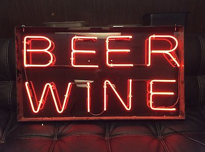 Neon Sign Beer Wine Real Neon Party Store Sign 115v Bright Red Letters