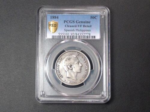 1884 PCGS VF Details Philippines 50 Centimos . RARE !