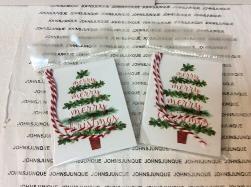 HOLIDAY GIFT TAGS AND TIES New in sealed package 5 TAGS Merry Christmas 2 PKGS