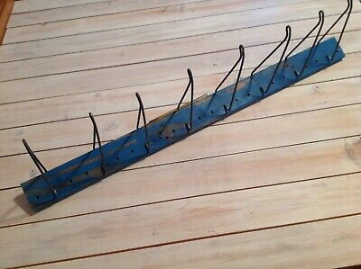 Vtg Auto Belthose Display Rack Upcycle Industrial Clothes Hat Shabby Rack 36x2