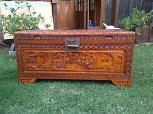 Vintage camphor carved wood chest blanket box Mount Gravatt Brisbane South East Preview