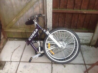 Garage find Cobra folding mountain bike 26inch wheels.couler silver and purple