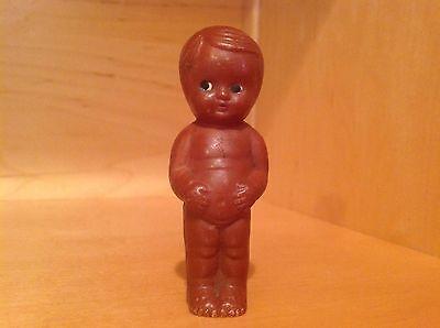 "Antique Celluloid - Hard Plastic  3 1/4"" Tall Black Americana Kewpie Doll"