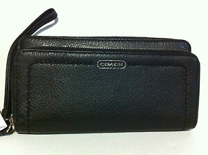 NWT Coach Park Leather Double Accordion Zip Around Wallet Black F49157